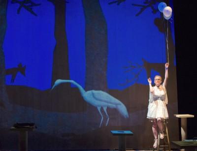 Bright bird: Sara Dabney Tisdale portrays an imaginary White Egret. Photo Credit: Teresa Wood Photography