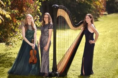 Violist Karin Brown, flutist Marcia Kämper, and harpist Jacqueline Pollauf