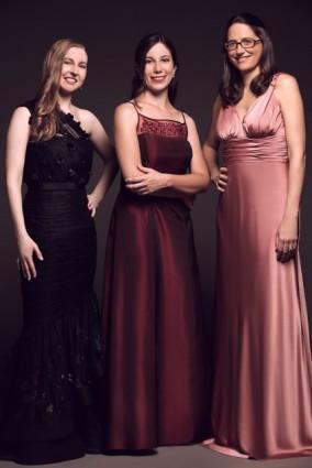 Violist Karin Brown, harpist Jacqueline Pollauf, and flutist Marcia Kämper
