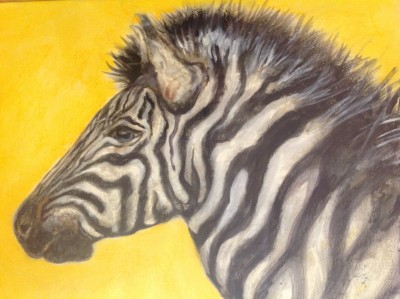 "A paintings from Reilly's new work, ""Paintings of Zebras and Giraffes"""