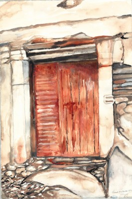 "This watercolor ""Holberton Door to My Past Number 1"" of an ancient Greek door, was published in Pamela Holberton's book, ""A Phoenix from the Abyss: A Life Such as This,"" the image captured while she was on a trip to the Greek Islands in 2012."