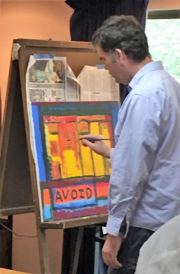 "Founding Studio In-Sight artist Robb Williams doing ""word work"" at the easel."