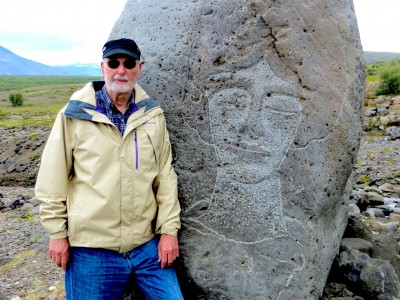 Joram Piatigorsky on a mountainous path dotted with Pàll Guömundsson sculptures in Husafell, Iceland. Photo credit: Lona Piatigorsky