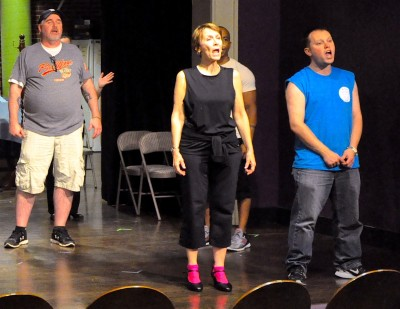 """Liz Weber (center) rehearses a scene from """"The Drowsy Chaperone"""" with Steve Cairns, RJ Coleman and Justin Douds."""