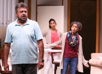 Tony Mirrcandani, Olivia Khoshatefeh, and Anu Yadav take on the roles of a Pakistani-American family. Photo Credit: Cheyenne Michaels