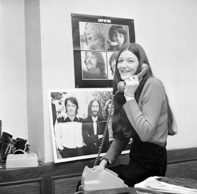 Freda Kelly in the Beattle's office, Photo Courtesy of Freda Kelly