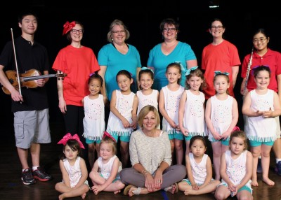 """The cast of """"Movement, Music at Mitzvah"""" are (standing, back) Danny O'Connor, Audrey Noguchi, Dawn Harding, Nicole Hunter, Joanna Church and Betsy O'Connor; (standing, middle) Emily Hsieh, Julia Lee, Annie Klinger, Brooke Raskin, Avery Silbert, Lily Dreeben and Dalya Lurie; and (seated, front) Sophia Ringold, Virginia McCarthy, Diane Strodel, Diana Lee and Leyna Hubbs."""