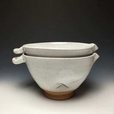 "Batter bowls are a favorite form for Landers, ""such a functional form, you can use it for anything from making a batter to serving a salad."""