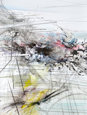 "Chee-Keong Kung, ""Riptide,"" 2013, ink and acrylic on canvas, 48 by 36 inches."