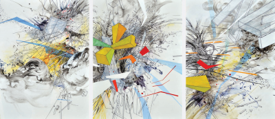 """Chee-Keong Kung's """"Torqued Cumulus,"""" Triptych, 2016, ink and acrylic on aluminum, 30 by 22 inches (each panel)."""