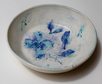 """Sandy Spring Museum Garden Series,"" stoneware plate with underglazes and clear glaze, by Rikki Condon."