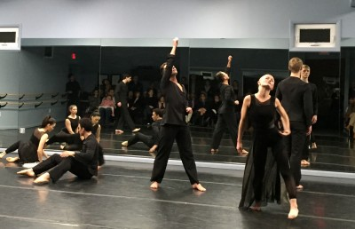 A scene from the Dana Tai Soon Burgess Dance Company's informal performance in the Hall of Mirrors studio at Glen Echo Park.