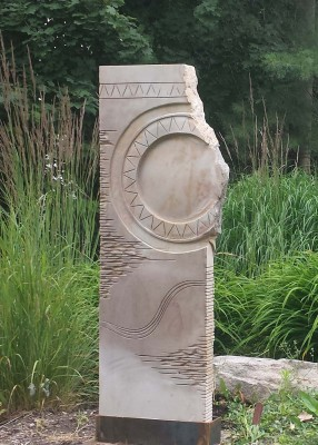 "Stone sculptor David Therriault, who created this ""Ripple in Time"" limestone sculpture, will open his Beallsville studio and sculpture garden for the Countryside Artisans tour."