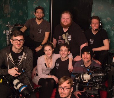 The crew poses after a show. From top, left: Camera Operator Chris Ponder, Sound Mixer Artem Bank, Assistant Camera/Action Camera Jeremy Jacoby, Camera Operator Nick Hughes, Production Manager Brittany Warrington, Director of Photography Justin Chiet, Camera Operator Matt Sloan, Technical Coordinator Joshua Cheatum