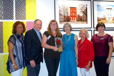 From left: Catherine Leggett; Councilmember Sidney Katz; Lauren Adams. 2016 Best in Show winner; Carol Trawick, founder; Elaine Joost, Bethesda Urban Partnership Chair; Catriona Fraser, The Trawick Prize Chair