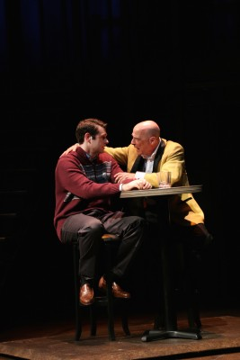 "Thomas Keegan (as Joe Pitt) and Mitchell Hébert (as Roy Cohn) in in the Round House Theatre and Olney Theatre Center production of ""Angels in America Part I: Millennium Approaches."""