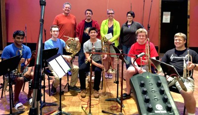 Omega Recording Studios hosted Pritchard Music Academy students for a recording session. Pictured are (back row, from left) vocalists Jonathan Baniak, Joe Pritchard, Lori Maxwell and Olivia Pritchard, and (front, from left) brass musicians Arjun Guthal, Justin Tritenger, Zack Moore, George Casper and Michael Baniak.