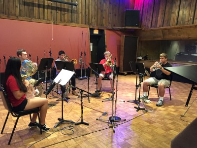 In early August, Omega Recording Studios in Rockville hosted students from Pritchard Music Academy for one of many recording sessions. Here, Pritchard students play for a sound check. From left, Arantza MiroQuesada, Justin Tritenger, Zack Moore, George Casper and Michael Baniak.