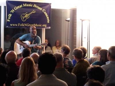Grammy-nominated folk/blues singer and guitarist Josh White Jr. performs in 2013 at Cheryl Kagan's house concert series.