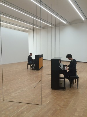 """The March 19 Counterpoint Concert in the Glenstone Museum's galleries featuring Fred Sandback's exhibit, """"Light, Space, Facts,"""" featured Chris Conz and Luca Sestak."""