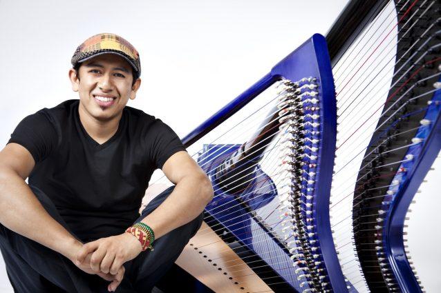 Edmar Castañeda with his harp.