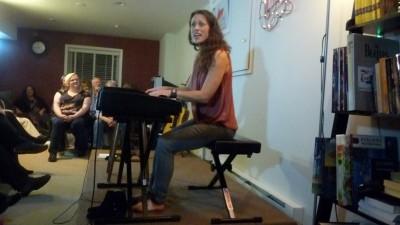 Oregon singer-songwriter Beth Wood plays keyboard during a December 2015performance.