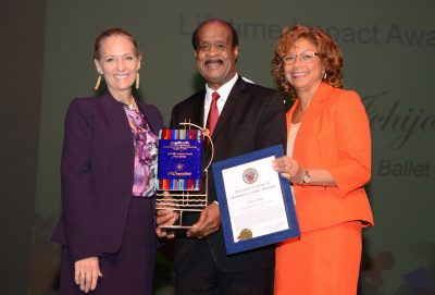 Fran Ichijo, Montgomery County Executive Isiah Leggett and his wife Catherine Leggett at the County Executive's Awards for Excellence in the Arts and Humanities in Oct. 2016.