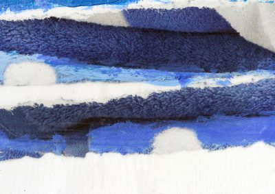 "Sur la Maire: Artist Maire McArdle creates evocative pop-of-color landscapes in mixed media, like ""Beach Towels"" (pictured above) and ""Sail Away with Me."""