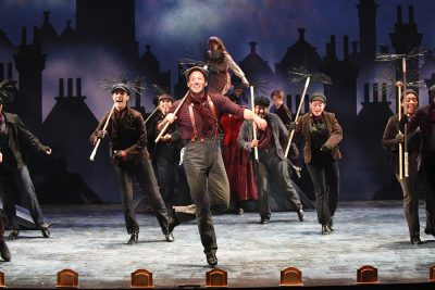 """Bert (Rhett Guter) and the chimney sweep ensemble wow the audience with """"Step in Time."""""""