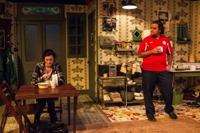"Tea and sympathy: Chelsea Mayo and Matthew Vaky in ""The Night Alive"" at Quotidian Theatre."