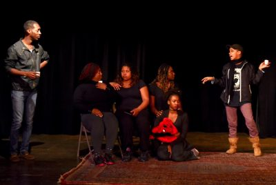 "From left, Tyrell Martin, Jasmine Prather, Mars'Harika Coleman and Stephanie Terry rehearse ""Black Nativity."""