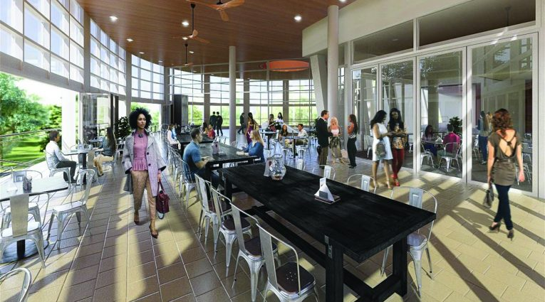 A rendering of the café addition from the inside.