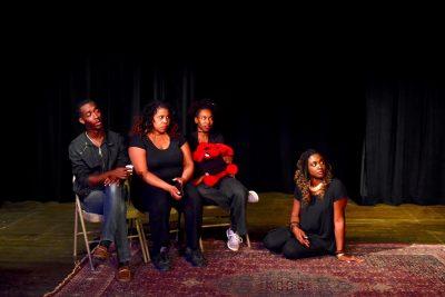 From left, Tyrell Martin, Jasmine Prather, Mars'Harika Coleman, Stephanie Terry (floor).