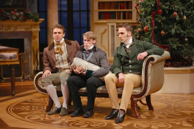 Brandon McCoy (Charles Bingley), William Vaughan (Arthur de Bourgh) and Danny Gavigan (Fitzwilliam Darcy).