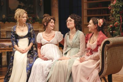 "Erin Weaver (Elizabeth Darcy), Katie deBuys (Jane Bingley), Katie Kleiger (Mary Bennet) and Miranda Rizzolo (Lydia Wickham) in Round House Theatre's production of ""Miss Bennet: Christmas at Pemberley."""