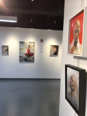 """""""The Reachable Shore,"""" works by figurative painter Judith Peck, is on view in the second-floor gallery at Artists & Makers Studios 2."""