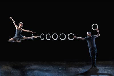 "Kate Byrne and Owen Reynolds of Gandini Juggling in ""4x4 Ephemeral Architectures."""