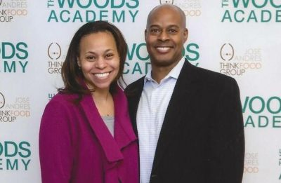 The Wrights at a Woods Academy event; Darien serves on the school's board.