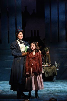 """Patricia Hurley (Mary Poppins) and Katharine Ford (Jane Banks) in Olney Theatre Center's """"Mary Poppins."""""""