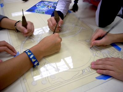 The hands that shape the art: Art students from Our Lady of Good Counsel explore printmaking for the exhibit at the Sandy Spring Museum.