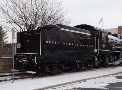 The rolling creek exhibit outside the Gaithersburg Community Museum includes a 1918 Buffalo Creek steam engine.