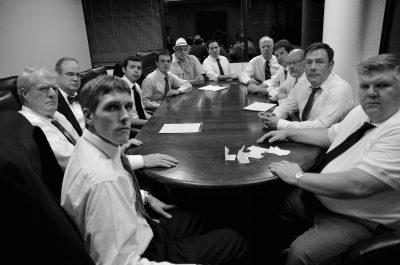 From front left: Scott D'Vileskis (Juror #2), Stephen Swift (3), Micky Goldstein (4), Daniel Santiago (5), Stan Rosen (6), Marc Rehr (7), Omar LaTiri (8), Rob Mostow (9), Bob Schwartz (10), Phil Kibak (11), Jason Damaso (12), Jim Kitterman (foreman, with ripped paper in front of him).