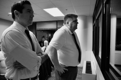 At window from left: Omar LaTiri, Juror #8, and Jim Kitterman, foreman.