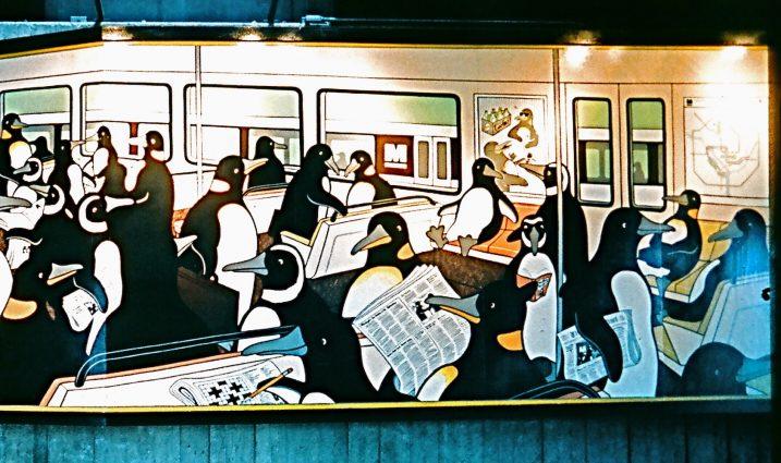 "Detail of the original ""Penguin Rush Hour."""