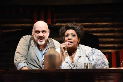 "David Benoit as Sweeney Todd and E. Faye Butler as Mrs. Lovett in Olney Theatre's ""Sweeney Todd."""