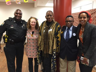 Police Captain Tyrone Collington, Busy Graham, African storyteller Nana Malaya, Takoma Park Councilmember Jarrett Smith and Seble Seyoum (of the Community Preservation and Development Corporation) at the ACE (African Arts, Culture and Education) Academy Essex House Family Celebration in Takoma Park.