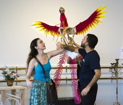 "Malinda Kathleen Reese as Ella and Javier Del Pilar as Prince Char. Puppetry by Andrea ""Dre"" Moore."