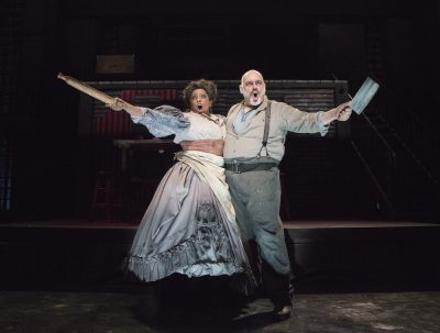 """E. Faye Butler as Mrs. Lovett and David Benoit as Sweeney Todd in Olney Theatre's """"Sweeney Todd."""""""