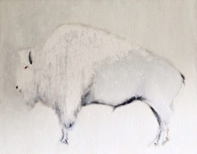 """Albino Bison in a Snowstorm"" by Sheryl Massaro"