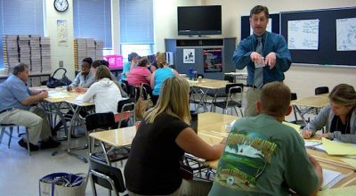 Teaching artist: John Morogiello training teachers to use the arts in their classrooms.